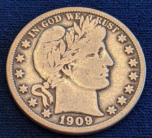 1909 VERY GOOD/FINE BARBER HALF DOLLAR