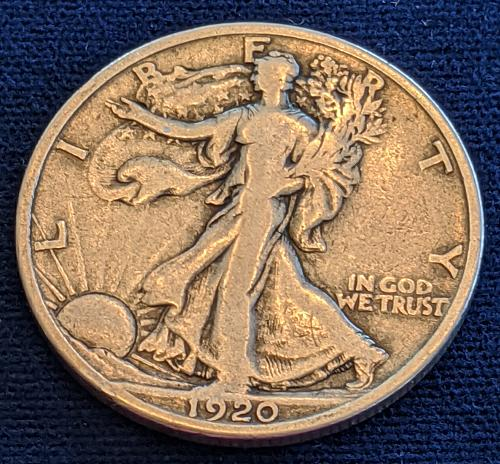 1920D FINE WALKING LIBERTY HALF DOLLAR.