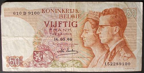 Belgium P139a 50 Francs VG+