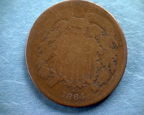 1864 P USA LARGE MOTTO TWO - CENT PIECE