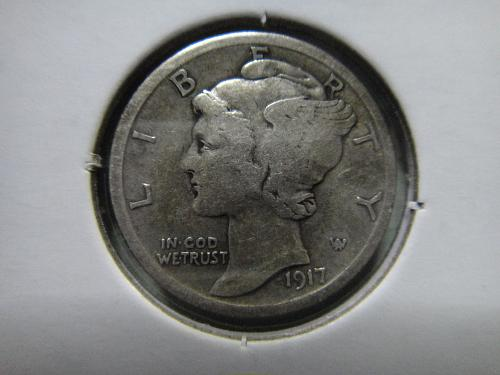 1917 Mercury Dime Very Fine-30 ROTATED REVERSE 15 Degrees Right!