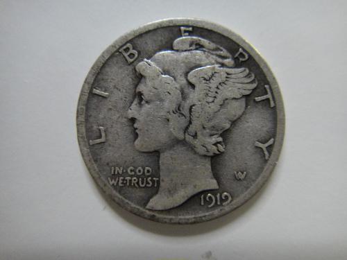 1919-D Mercury Dime Fine-12 Very Nice For Grade!