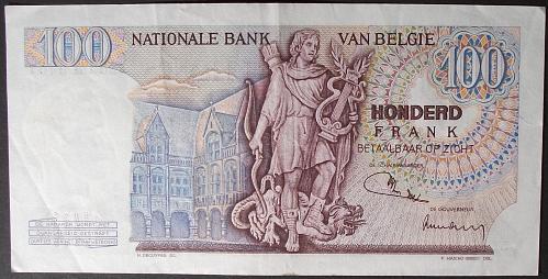 Belgium P134b 100 Francs VF #2