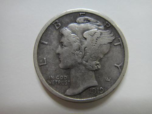 1919-D Mercury Dime Very Fine-25 Sharp Axe Line Definition!