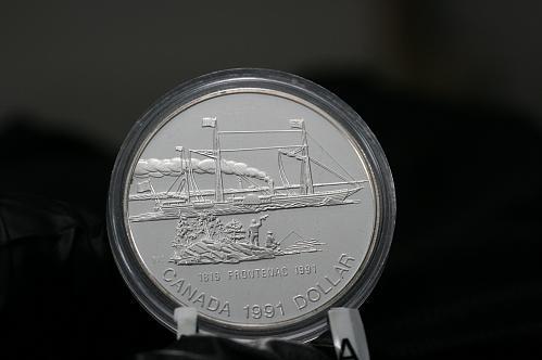 1991 Canada 1 Proof   Silver Dollar Frontenac Case & COA