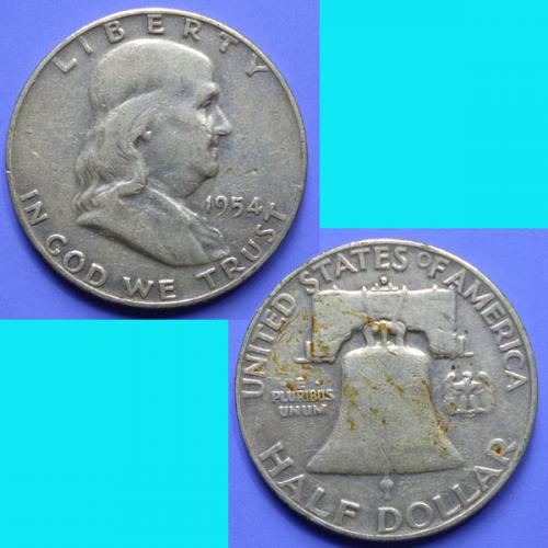 US United States Franklin Half Dollar 1954 D km199 silver 0.3617 oz