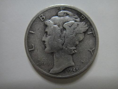 1945-S Micro S Mercury Dime Very Fine-20 One Year Only Mintmark Variety!