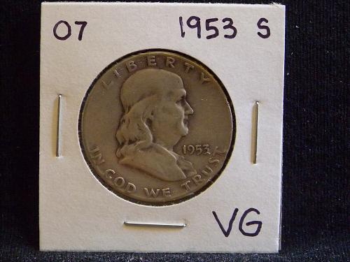 1953 S Franklin Half Dollar