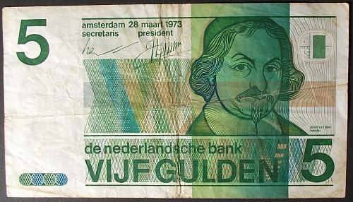 Netherlands P95a 5 Gulden VG+