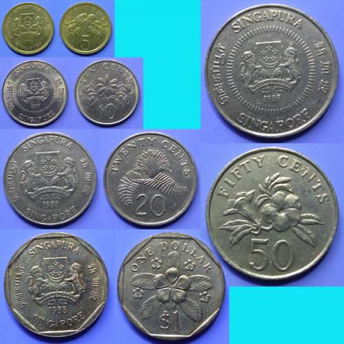 Singapore 2nd series 5 Cents to $ 1 Dollar - 5 pieces 1988