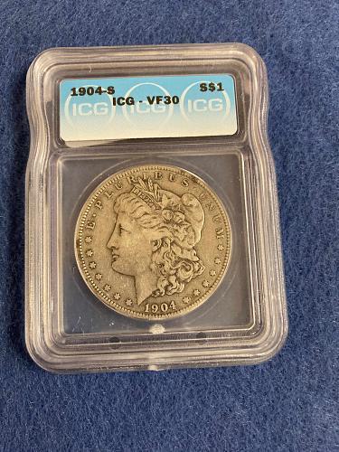 1904 S Morgan Silver Dollar ICG Graded VF30 Very Fine San Francisco Mint Tougher