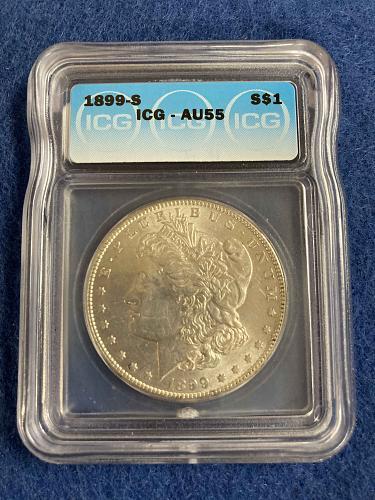 1899 S Morgan Silver Dollar ICG Graded AU55 Almost Uncirculated San Francisco