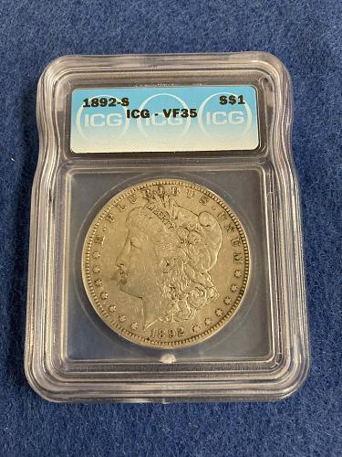 1892 S Morgan Silver Dollar ICG Graded VF35 Very Fine San Francisco