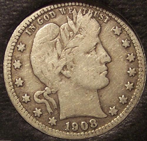 1908-D Silver Barber Quarter F12 #0168