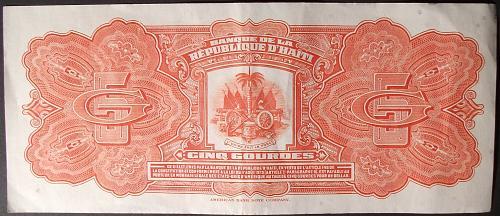 Haiti P202a 5 Gourdes VF+