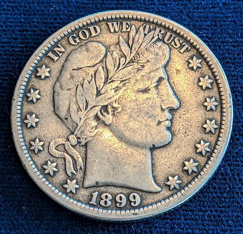 1899 VERY FINE BARBER HALF DOLLAR
