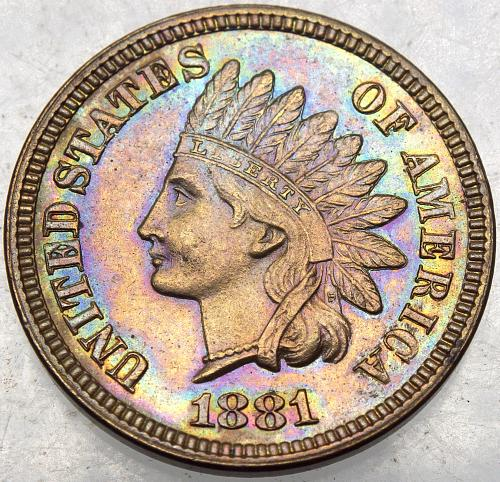 1881 P Indian Head Cent #7 MINT STATE 64 Beautifully Toned