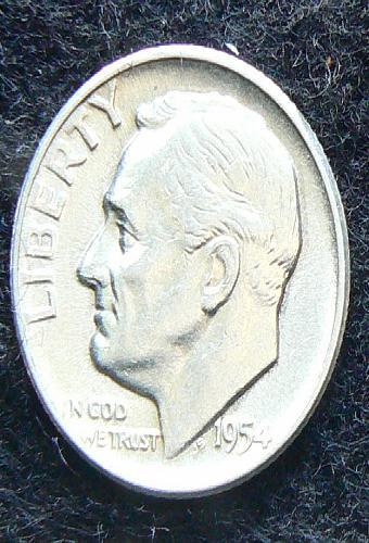 1954 P Roosevelt Dime (AU-58)