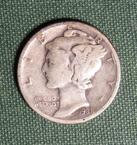 1938P Mercury Silver Dime