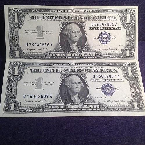 2 UNC Series 1957 A Silver Certificate 1.00 Bills