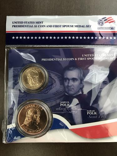 2009 Presidential $1 Coin and First Spouse Medal Set- James and Sarah Polk