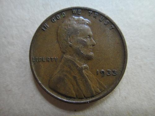 1933 Lincoln Cent Very Fine-20 Medium Chocolate Brown Patina!