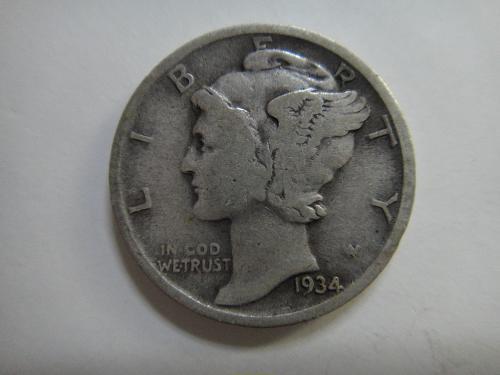 1934 Mercury Dime Fine-12 Nice Original Light Silver Patina!