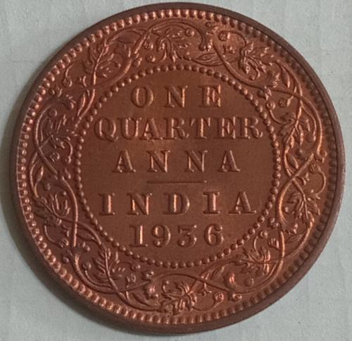 E)..1936 British India 1/4 Anna UNC coin