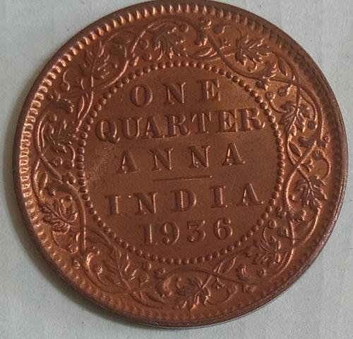 G)..1936 British India 1/4 Anna UNC coin