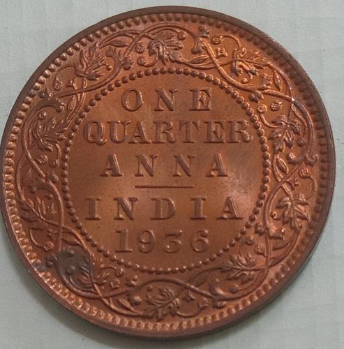Q)...1936 British India 1/4 Anna UNC coin