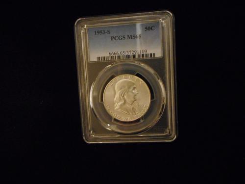 1953-S Franklin Half dollar PCGS 37291109 MS65