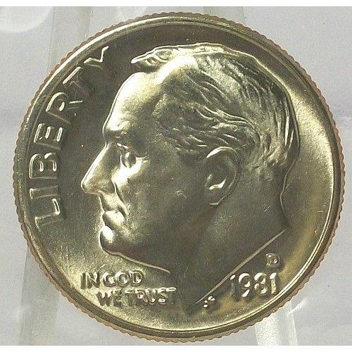 1981-D Roosevelt Dime BU With FULL BANDS In the Cello #0562