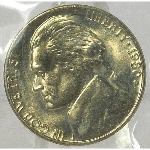 1980-D Jefferson Nickel BU In the Cello #0566