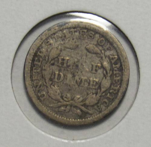 1858 P Seated Liberty Half Dime in circulated condition