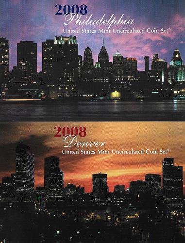 2008- P&D UNCIRCULATED MINT SET (W/PRESIDENTS)