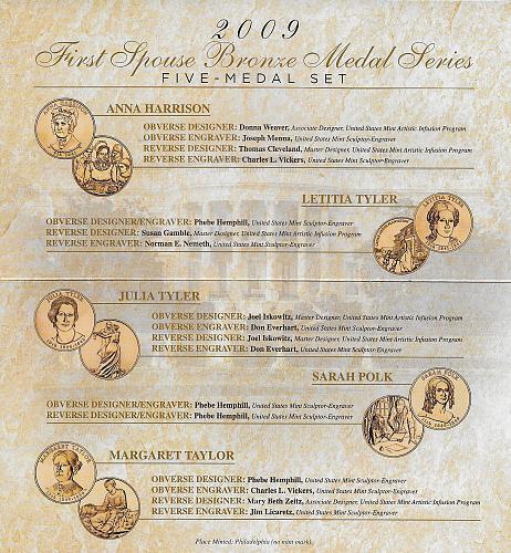 2009 P - FIRST SPOUSE BRONZE MEDAL SET