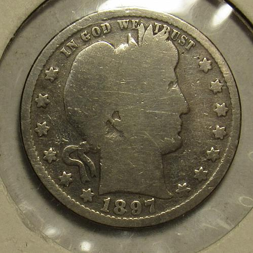 1897 P Barber Quarter in circulated condition