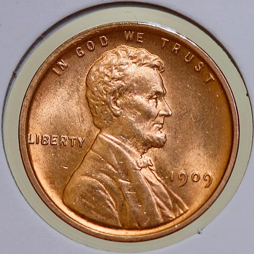 1909 VDB Lincoln Wheat Cent - Red Gem BU / MS RD / UNC