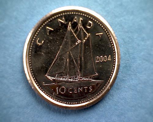2004P  CANADA TEN CENTS  QUEEN ELIZABETH 11