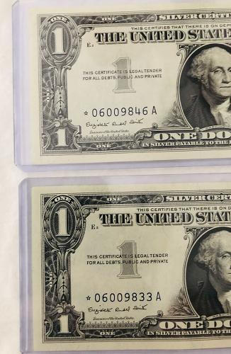 (2) 1957A **STAR NOTES**$1 Silver Certificate GEM UNCIRCULATED