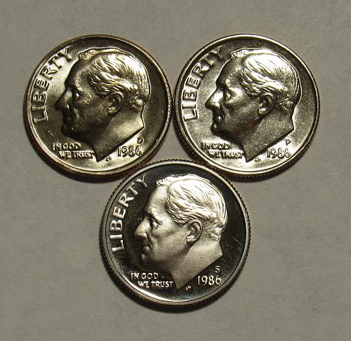 1986 P,D&S Roosevelt Dimes in BU and Proof condition
