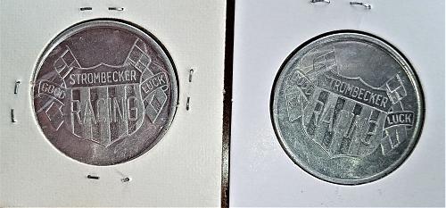 Strombecker Slot Car Lucky Racer Road Racing Coins Official 1960s NOS 1 Pair