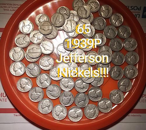 Sixty Five 1939P Jefferson Nickels