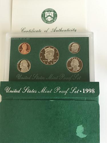 1998-S clad US Mint Proof Set W/box and COA