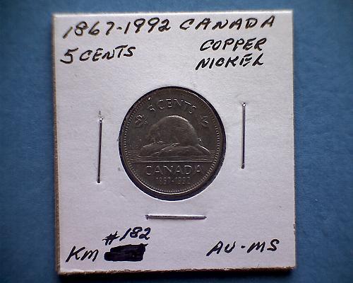 """1867 - 1992 CANADA FIVE CENTS QUEEN ELIZABETH 11 """"125 YRS OF CONFEDERATION"""""""