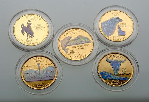 All 5  2007D State Quarters Gold Plated with Hologram