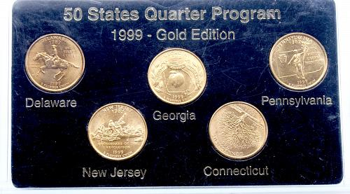 All 5 1999P State Quarters Gold Plated