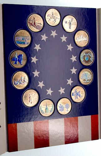 Commemorative State Quarters of the 13 Colonies GOLD PLATED with HOLOGRAM
