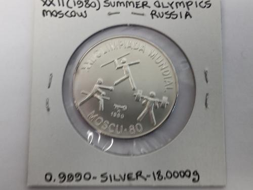 1980 cuba 10 pesos Silver matte proof coin, moscow olympics
