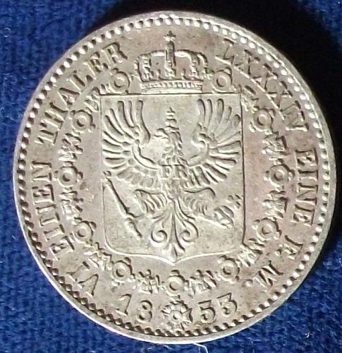 1853A German States/Prussia 1/6 Thaler AU